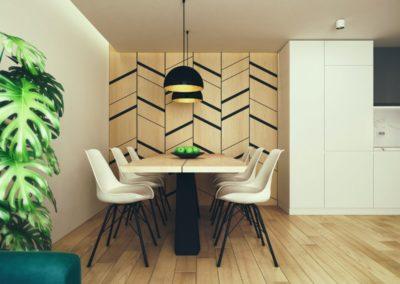 Drewniana ściana we wnętrzu mieszkania